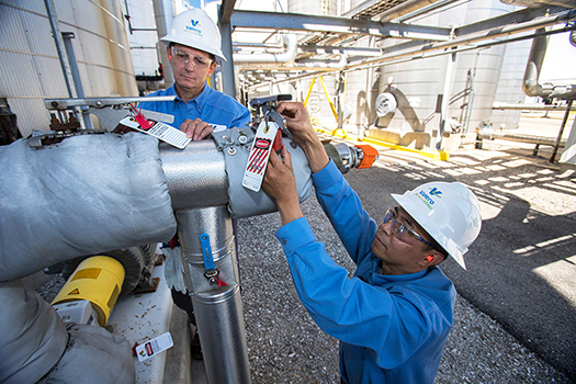 Valero Renewable employees conduct safety check on equipment