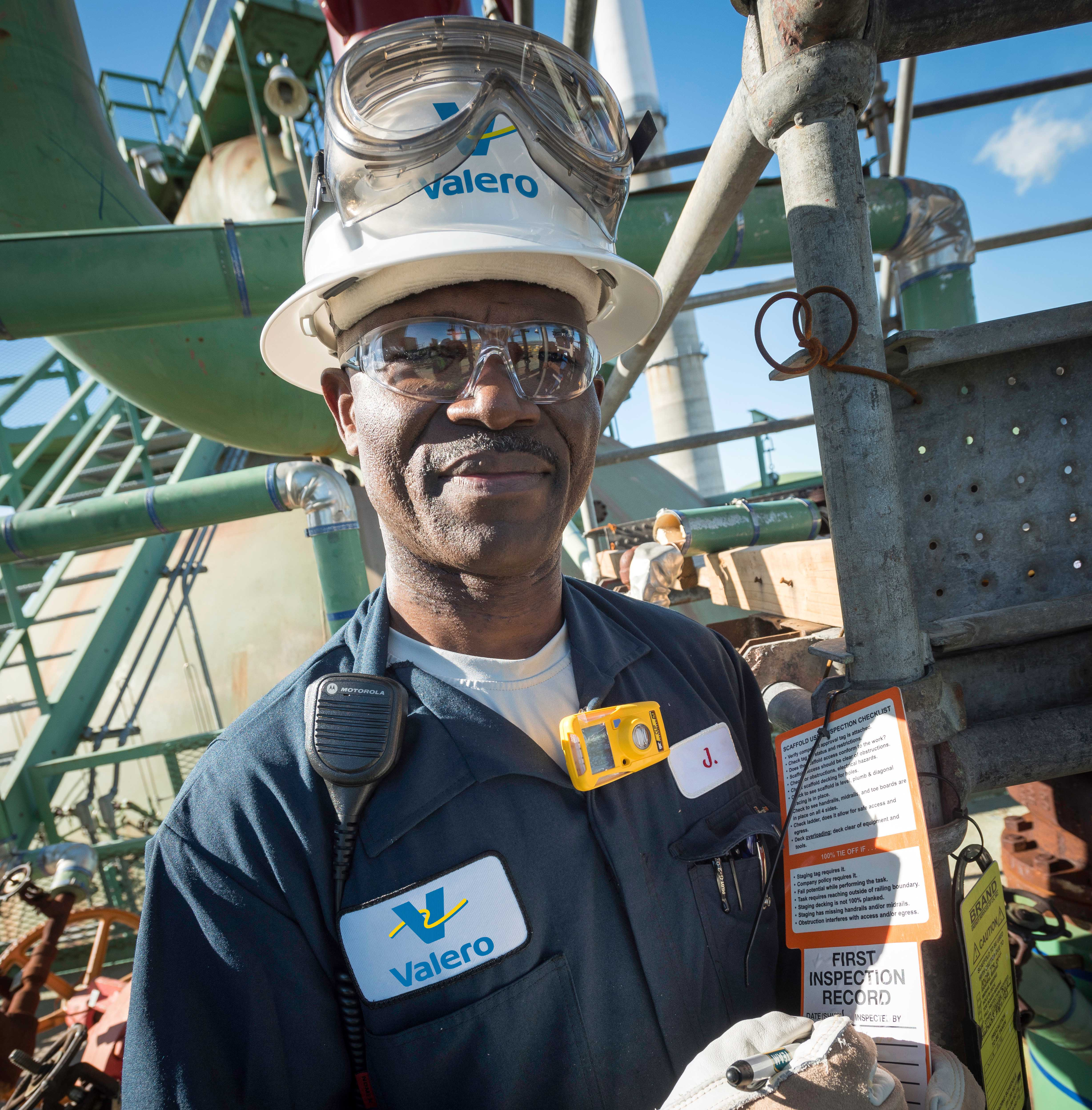 Valero refinery employee doing safety inspection