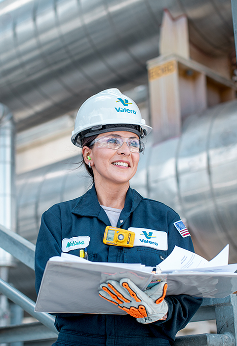 Valero female refinery employee