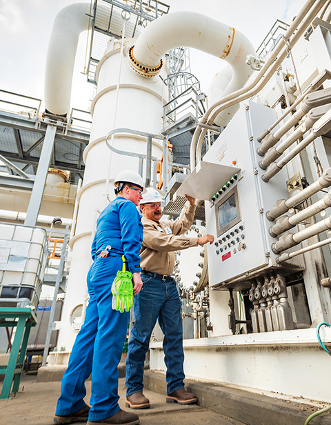 Valero refinery employees perform safety check