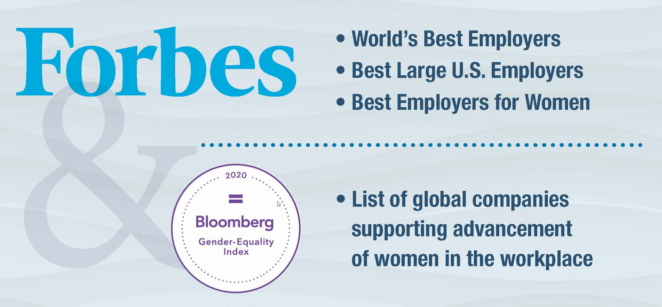 Graphic highlighting Best Employer and Opportunities for Women recognition