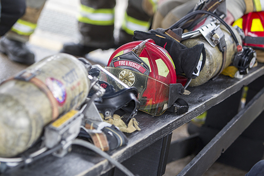 Firefighting helmet and equipment