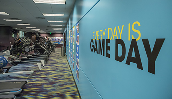 Image from inside the Valero Fitness Center workout room
