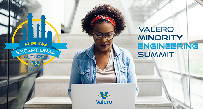 Minority Engineering Summit candidate at a laptop with logos over her shoulder