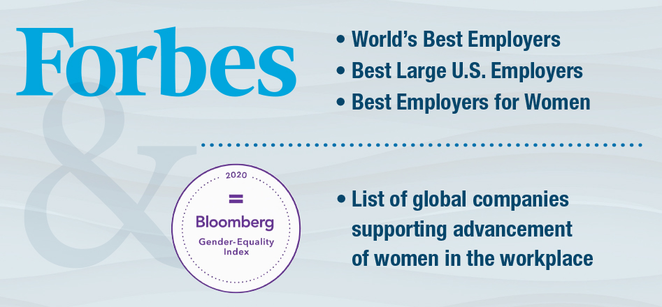 Images that indicate Valero's accolades from Forbes and Bloomberg
