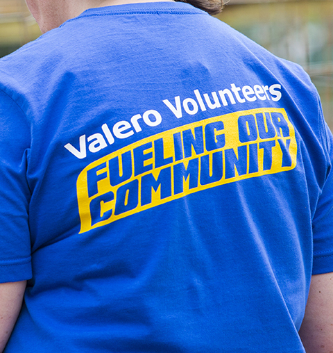 Back of Valero volunteer t-shirt