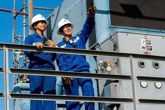 Two female Valero employees at refinery