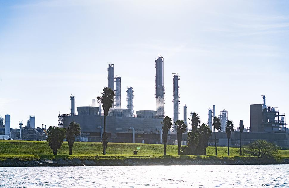 Valero Bill Greehey Refineries from the shoreline