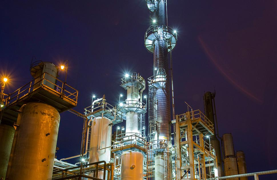 Valero McKee Refinery at night