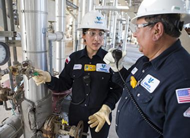 Valero refinery employees perform safety inspection