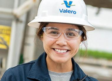 Young female Valero refinery employee