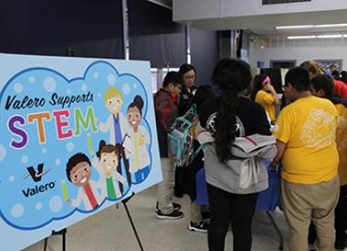 Students gather at entrance of Valero STEM event